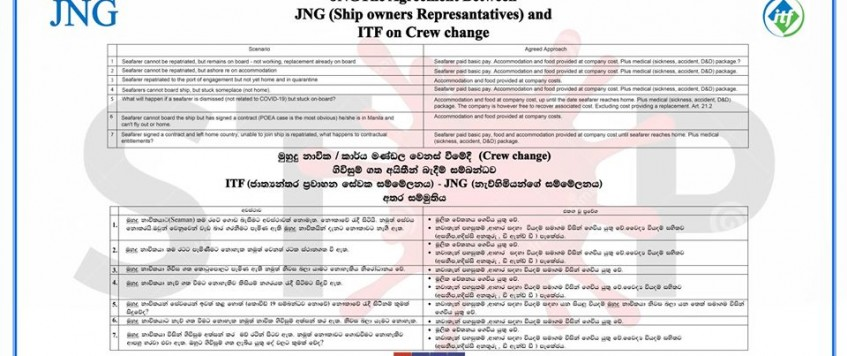 JNGThe Agreement Between JNG (Ship owners Representatives) and ITF on Crew change